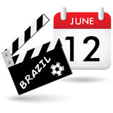 Brazil ciak calendar. 12 of june on the calendar to celebrate the beginning of a sport competition stock illustration