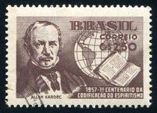 Allan Kardec printed by Brazil. BRAZIL - CIRCA 1957: stamp printed by Brazil, shows  Allan Kardec, circa 1957 Royalty Free Stock Photography