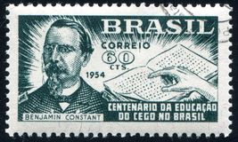 Benjamin Constant printed by Brazil. BRAZIL - CIRCA 1954: stamp printed by Brazil, shows  Benjamin Constant and Hand Reading Braille, circa 1954 Stock Photos