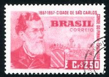 Count of Pinhal and Sao Carlos. BRAZIL - CIRCA 1957: stamp printed by Brazil, shows  Count of Pinhal and Sao Carlos, circa 1957 Stock Photos