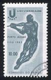 Hammer Thrower. BRAZIL - CIRCA 1963: stamp printed by Brazil, shows  Hammer Thrower, circa 1963 Stock Photography