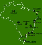 Brazil Cities Map Stock Image