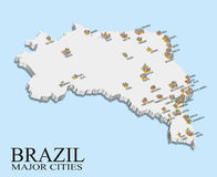 Brazil city population map Royalty Free Stock Photo