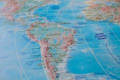 Brazil in close up on the map. Focus on the name of country. Vignetting effect.  royalty free stock photos