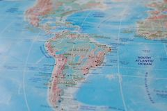 Brazil in close up on the map. Focus on the name of country. Vignetting effect.  stock photos
