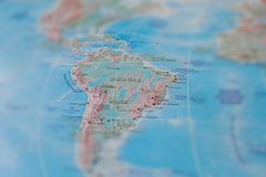 Brazil in close up on the map. Focus on the name of country. Vignetting effect.  stock image
