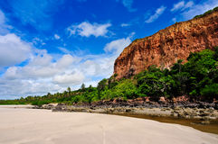 Brazil Coastline. Cliffs in front of Beach on Brazil Coastline royalty free stock photography