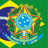 Brazil coat of arm and flag Stock Photography