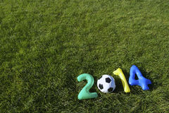 Brazil Colors Blue Green Yellow Football 2014 Message Grass Background Stock Photos