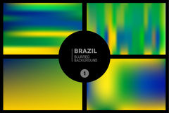 Brazil colors blurred backgrounds set. Brasil flag colors abstract blurred backgrounds set. Useful for cover design, website, greeting card and advertising Royalty Free Stock Photography