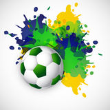 Brazil colors splash grunge soccer ball design Royalty Free Stock Photos