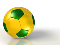 Brazil colours on soccer ball on white background Royalty Free Stock Photo