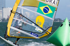 Brazil competes at the men's windsurfing finals at the 2013 ISAF World Sailing Cup in M Royalty Free Stock Photography