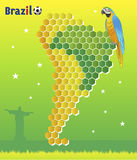 Brazil Concept - with macaw and map of Latin America. Brazil Concept, with macaw and map of Latin America, accentuating Brazil area royalty free illustration