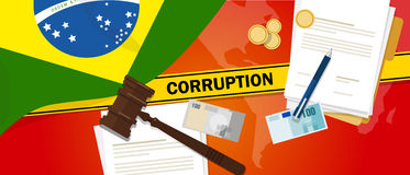 Brazil corruption money bribery financial law contract police line for a case scandal government official. Vector Stock Photography