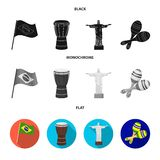 Brazil, country, flag, drum . Brazil country set collection icons in black, flat, monochrome style vector symbol stock. Illustration royalty free illustration