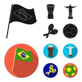 Brazil, country, flag, drum . Brazil country set collection icons in black, flat style vector symbol stock illustration.  vector illustration