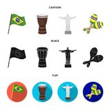 Brazil, country, flag, drum . Brazil country set collection icons in cartoon,black,flat style vector symbol stock. Illustration Stock Photography
