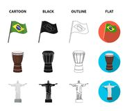 Brazil, country, flag, drum . Brazil country set collection icons in cartoon,black,outline,flat style vector symbol. Stock illustration Stock Image
