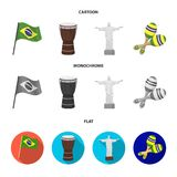 Brazil, country, flag, drum . Brazil country set collection icons in cartoon,flat,monochrome style vector symbol stock. Illustration Royalty Free Stock Image