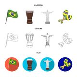 Brazil, country, flag, drum . Brazil country set collection icons in cartoon,outline,flat style vector symbol stock. Illustration Stock Photography