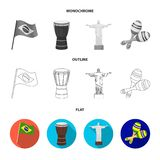 Brazil, country, flag, drum . Brazil country set collection icons in flat,outline,monochrome style vector symbol stock. Illustration stock illustration
