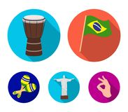 Brazil, country, flag, drum . Brazil country set collection icons in flat style vector symbol stock illustration web. Brazil, country, flag, drum . Brazil royalty free illustration