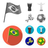 Brazil, country, flag, drum . Brazil country set collection icons in monochrome,flat style vector symbol stock. Illustration stock illustration