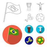 Brazil, country, flag, drum . Brazil country set collection icons in outline,flat style vector symbol stock illustration.  stock illustration