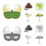 Brazil, country, mask, carnival . Brazil country set collection icons in cartoon,monochrome style vector symbol stock. Illustration Royalty Free Stock Image