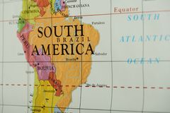 Brazil country on paper map. Close up view stock photography