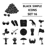 Brazil country set icons in black style. Big collection of Brazil country vector symbol stock illustration Royalty Free Stock Images