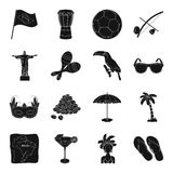 Brazil country set icons in black style. Big collection of Brazil country vector symbol stock illustration Stock Photos