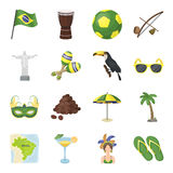 Brazil country set icons in cartoon style. Big collection of Brazil country vector symbol stock illustration Royalty Free Stock Photo