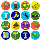 Brazil country set icons in flat style. Big collection of Brazil country vector symbol stock illustration Stock Images