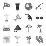 Brazil country set icons in monochrome style. Big collection of Brazil country vector symbol stock illustration Royalty Free Stock Image