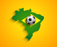 Brazil country  soccer map with ball Stock Images