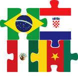 Brazil, Croatia, Mexico, Cameroon Flags in puzzle Royalty Free Stock Photography