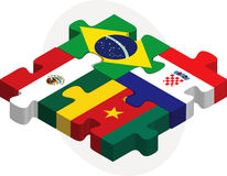 Brazil, Croatia, Mexico, Cameroon Flags in puzzle Royalty Free Stock Photo