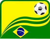 Brazil Cup Winners. Background with Brazil Flag colors with a Soccer ball vector illustration