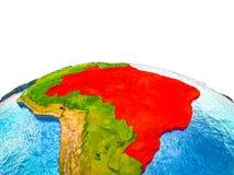 Brazil on 3D Earth vector illustration