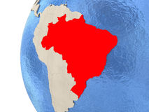 Brazil on 3D globe Royalty Free Stock Image