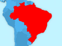 Brazil on 3D map. Country of Brazil highlighted in red on blue map. 3D illustration Royalty Free Stock Image