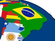 Brazil on 3D map with flags. Map of Brazil with embedded flags on 3D political map. Accurate official colors of flags. 3D illustration Royalty Free Stock Image