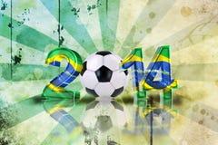 Brazil design. Retro soccer background, 2014 3d letters in brazil design with soccer ball Stock Photos
