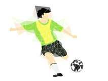 Brazil dress soccer player shooting in triangle design vector Stock Photo
