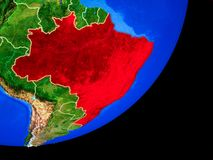 Brazil on Earth from space vector illustration
