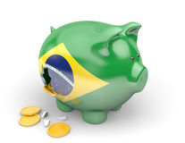 Brazil economy and finance concept for government spending and national debts. Rendered in 3D over a white background Royalty Free Stock Images