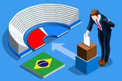 Brazil Election Brazilian Vote Infographic. Brazil election voting concept Brazilian man putting vote in the isometric ballot box. Vector illustration with 3D stock illustration
