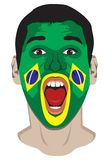 Brazil fan face Stock Photography